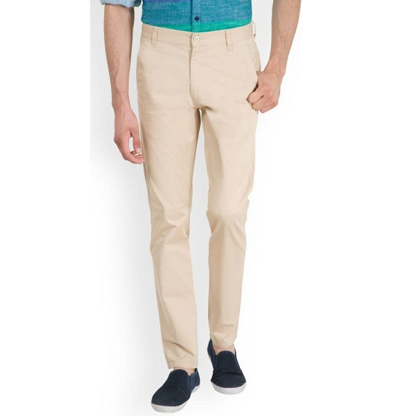 Highlander Slim Fit Mens Beige Trousers