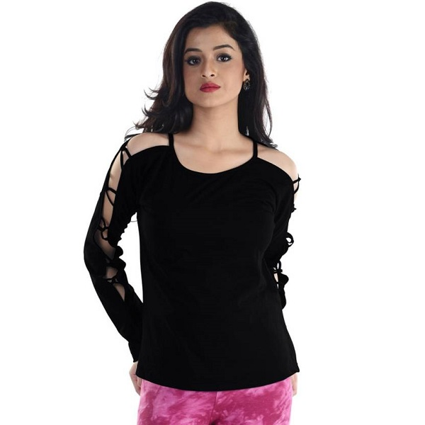 Veakupia Casual Full Sleeve Solid Womens Black Top