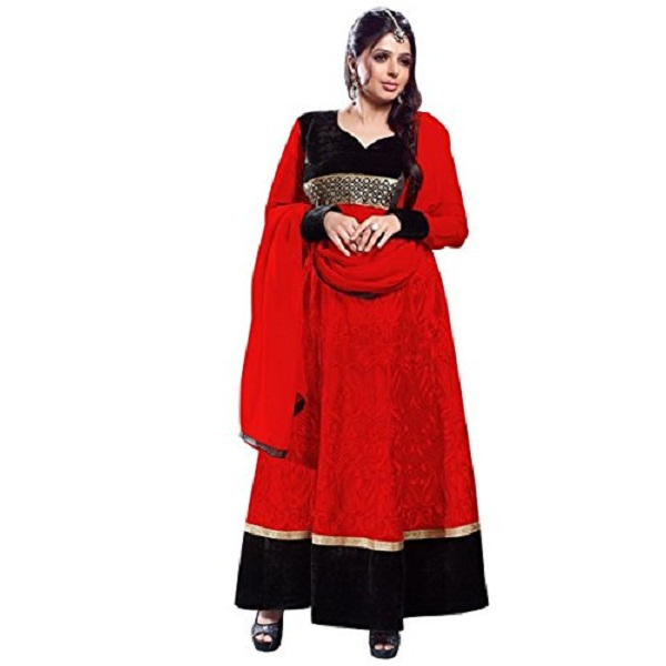 Vibes Womens Georgette Patch Work Anarkali Unstitched Dress Material