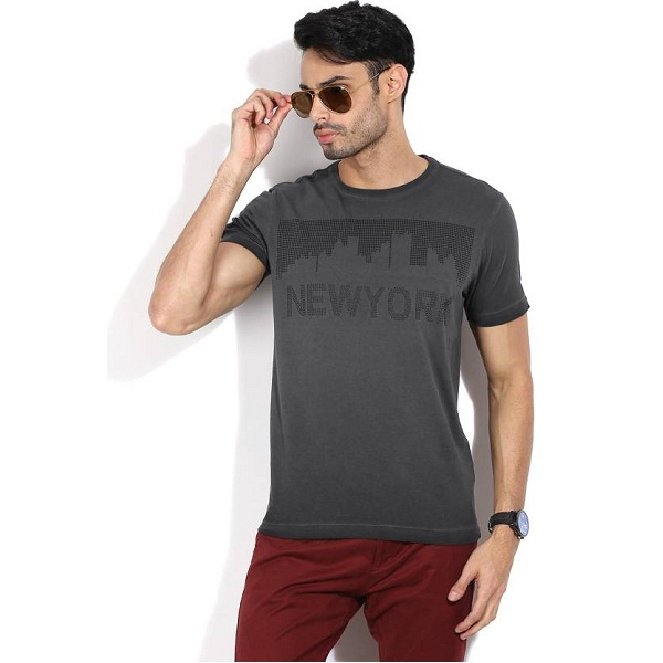 Arrow New York Printed Mens Round Neck Grey Tshirt