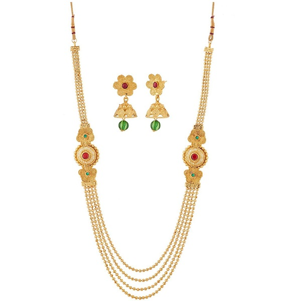 Reeva Gold Plated Multi Strand Necklace With Earrings Set