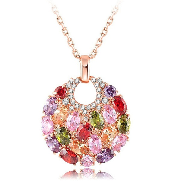 Yellow Chimes Swiss Zircon Rainbow colors Exquisite 16k Rose Gold Plated Pendant