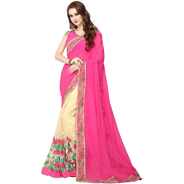 Panchratna Womens brasso georgettete embroidered saree