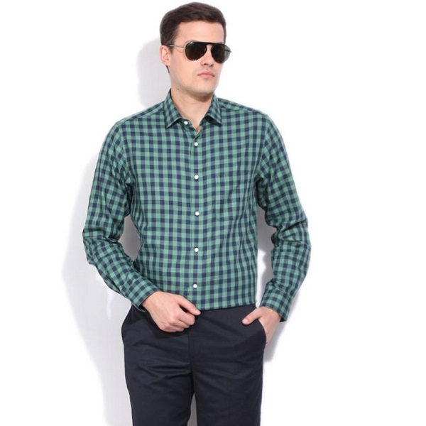 Peter England Mens Checkered Formal Green Shirt