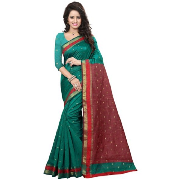 Stutti Fashion Self Design Womens Green Silk Saree