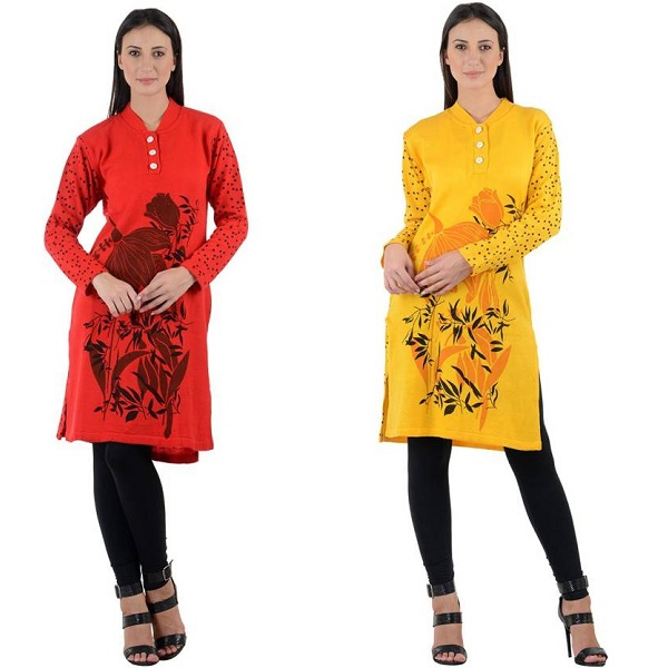 NumBrave Casual Floral Print Womens Kurti Pack of 2