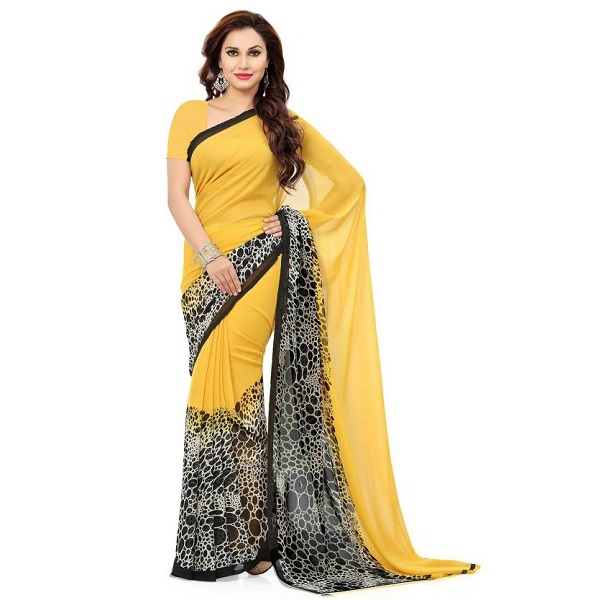 Ishin Printed Bollywood Synthetic Georgette Sari