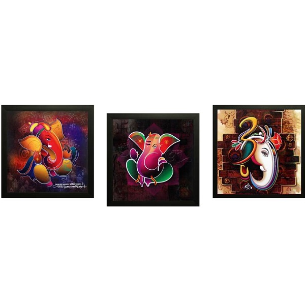 SAF Ganeshas Gift Set Of 3 Ink Painting