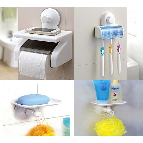 Vivir High Quality Toilet Tissue Holder With Soap Dish And Toothbrush Holder