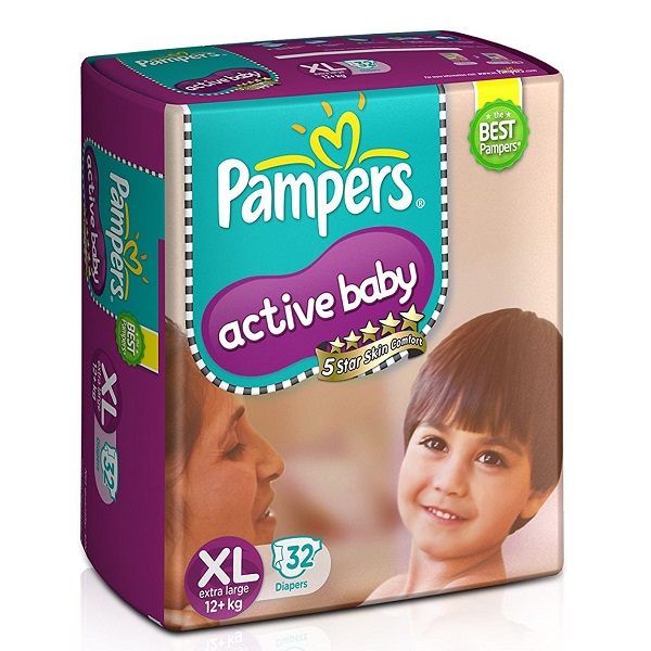Pampers Active Baby Extra Large Size Diapers 32 Count