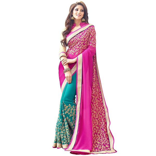 Panchratna Womens Faux Georgette Saree