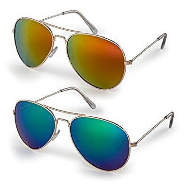 Sheomy Aviator Mirrored Unisex Sunglasses Combo Pack of 2