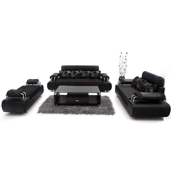 Furnicity Leatherette Black Sofa Set