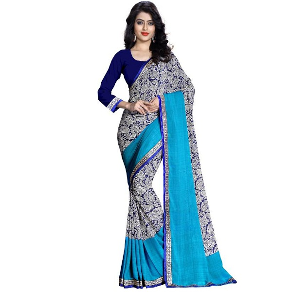 Oomph Printed Fashion Crepe Sari
