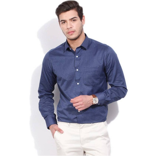 Peter England Mens Formal Dark Blue Shirt