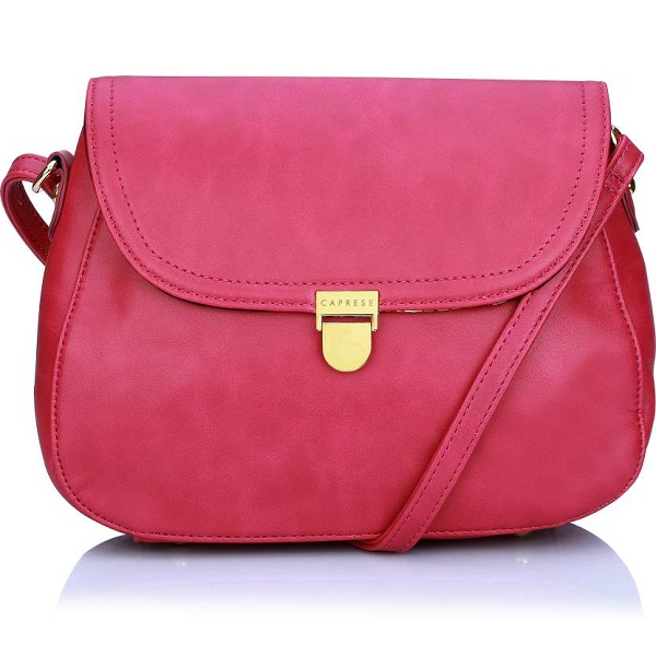 Caprese Women Pink Leatherette Sling Bag