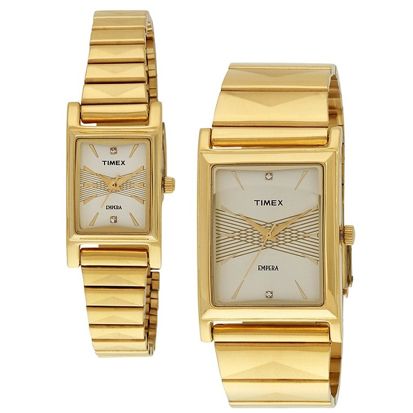 Timex Empera Analog Beige Dial Unisex Watch Set