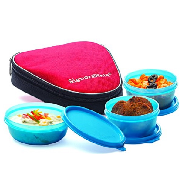 Signoraware Sleek Lunch Boxes with Bag