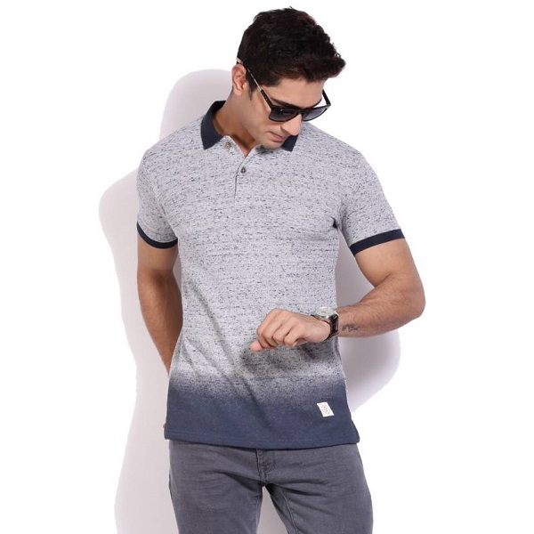 United Colors of Benetton Solid Mens Polo Neck Grey T Shirt