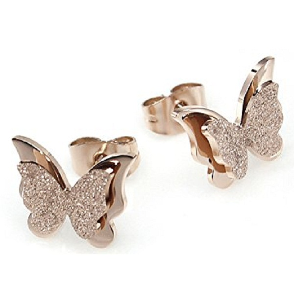 YELLOW CHIMES Charming Dual Butterfly Surgical Steel Rose Gold Stud Earrings