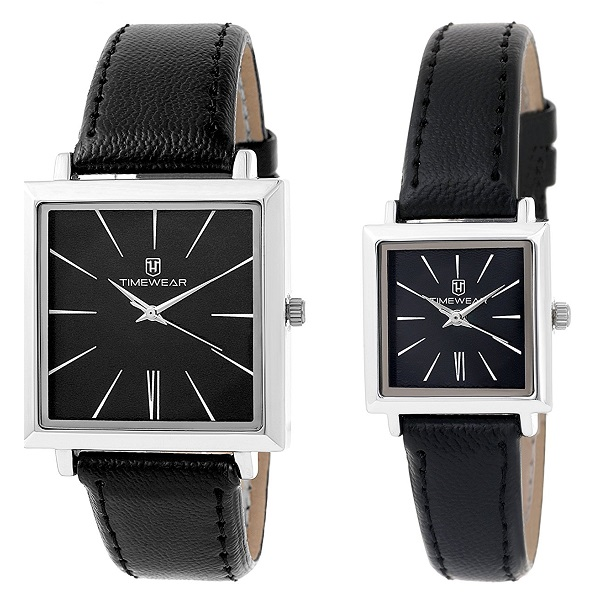 H Timewear Analog Black Dial Couple Watch