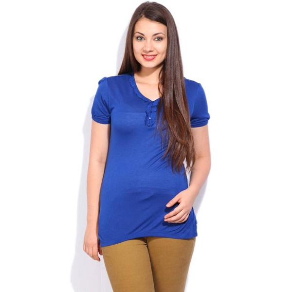 Cherokee Casual Short Sleeve Solid Womens Blue top