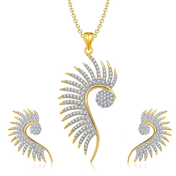 M CREATION Designer Cz Peacock Pendant Set Without Chain
