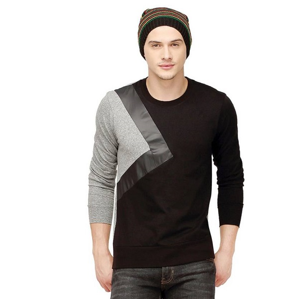 Campus Sutra Solid Mens Round Neck Black T Shirt