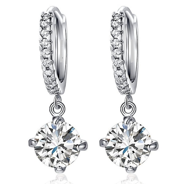 Karatcart Platinum Plated Crystal Clip On Earrings
