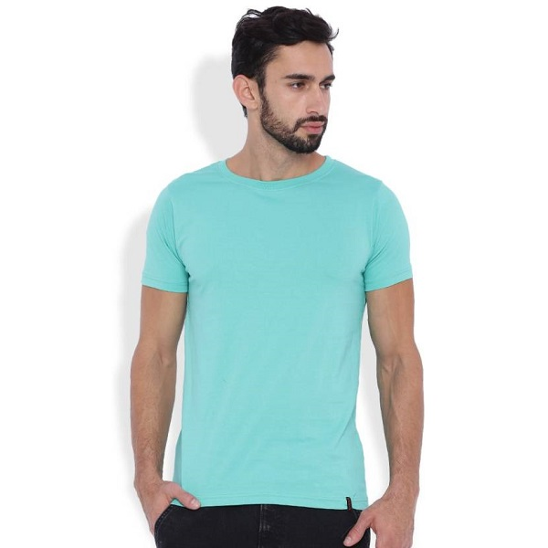 Rodid Solid Mens Henley Green T Shirt