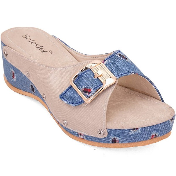 Solester Women Blue Wedges