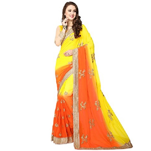 Womens Faux Georgette Ethnic Saree with blouse