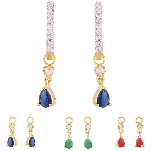 Zeneme Multi Color 6 in 1 Interchangeable Jhumki Shaped Earrings