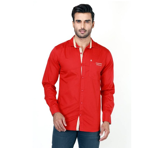 Rapphael Mens Solid Casual Red Shirt