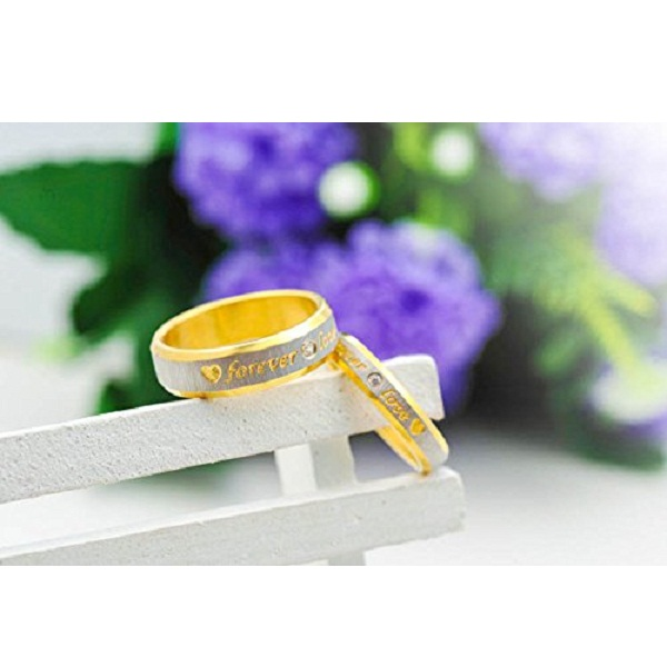 Yellow Chimes Love Forever Gold Plated Proposal Couple Rings