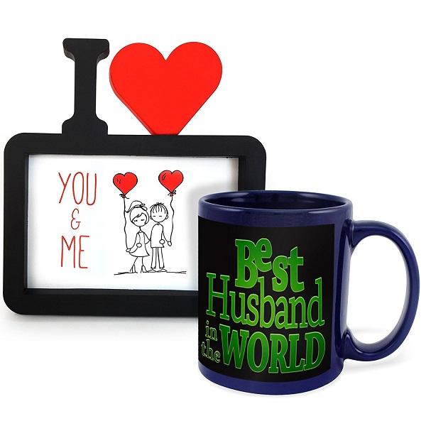 Tied Ribbons Best Husband Ceramic Mug with Photo Frame
