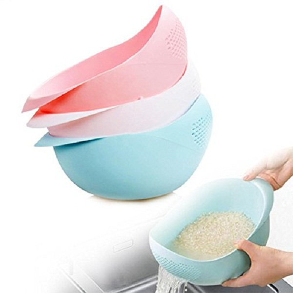 Insasta Plastic Vegetable Fruit Basket Rice Wash Sieve Washing Bowl