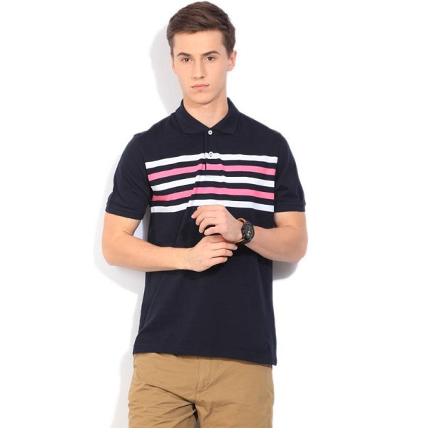 Peter England Striped Mens Polo Neck Dark Blue T Shirt