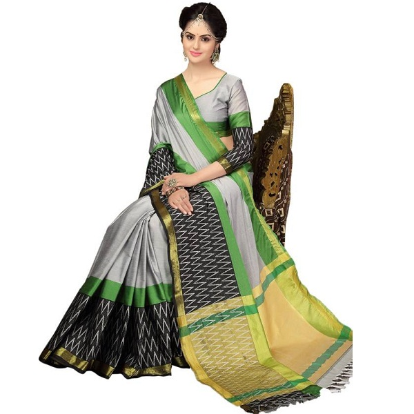 Kjs Self Design Bollywood Cotton Sari