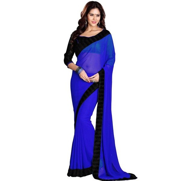 Sourbh Sarees Plain Fashion Georgette Sari