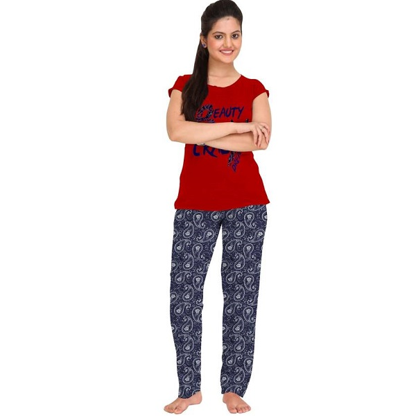 So Sweety Womens Printed Red Top And Pyjama Set