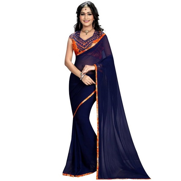 Trendy Store Solid Fashion Georgette Sari