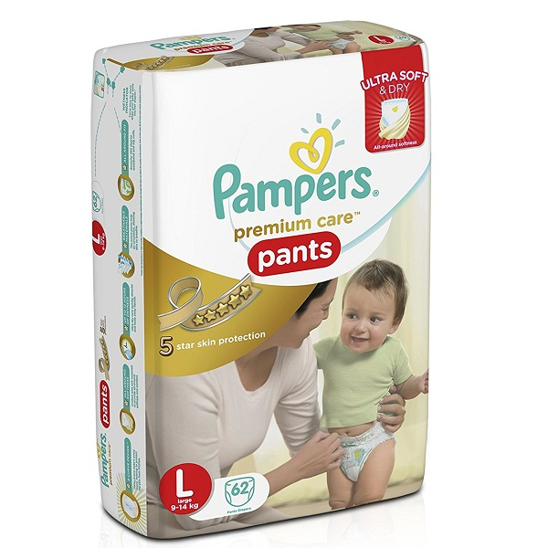 Pampers Premium Care Large Size Diaper Pants 62 Count