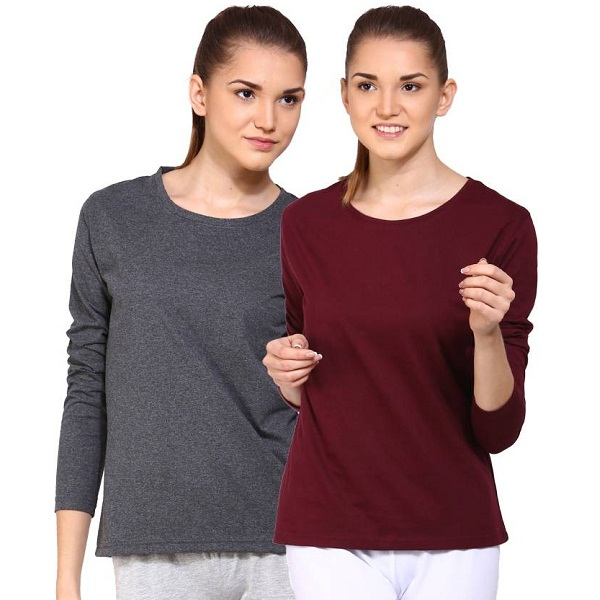 Appulse Pack of 2 Solid Womens T Shirt