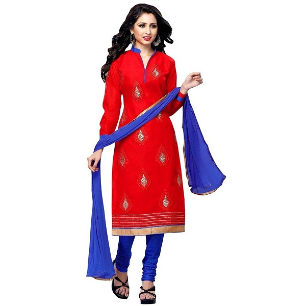 PARISHA Chanderi Cotton Red Womens Straight Suit
