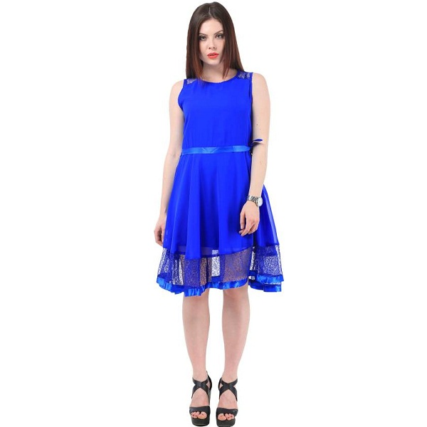My Swag Womens A line Blue Dress