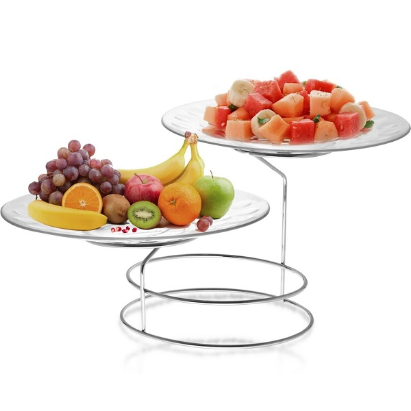 Trueware Serving Platter Set UNBREAKABLE Including Stand