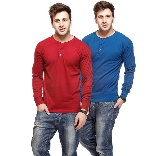 Gritstones Solid Mens T Shirt Pack of 2