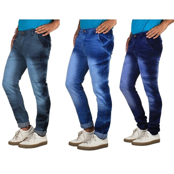 Bdow Slim Mens Multicolor Jeans Pack of 3