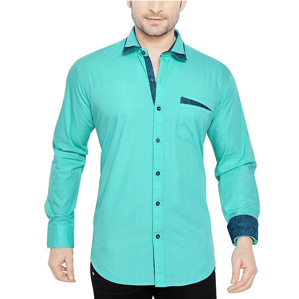 GlobalRang Mens Cotton Casual Blue Shirt